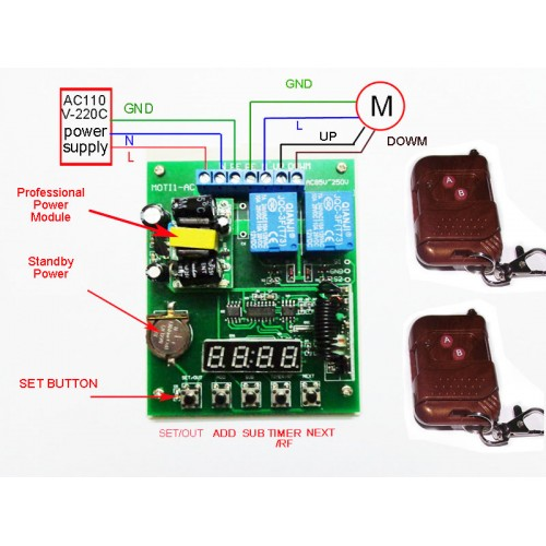 1ch Timer Switch For Ac110v 220v Motor Forward Reverse