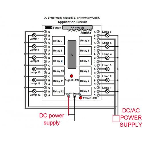 rf 12 channel wireless remote control switch dc 12v 315mhz
