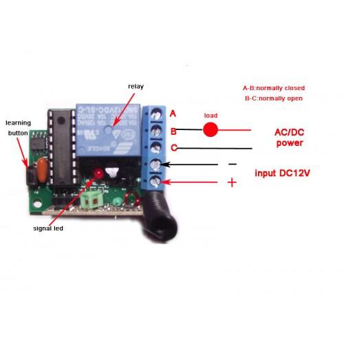 Mini 1 Ch Dc 12v Rf Radio Remote Control Switch With